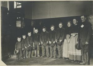 A family of seven sons and one daughter, Ellis Island, New York