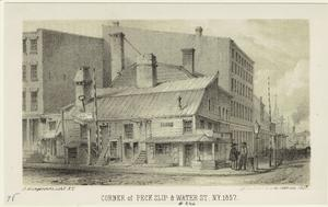 Corner of Peck Slip & Water St. N.Y. 1857.
