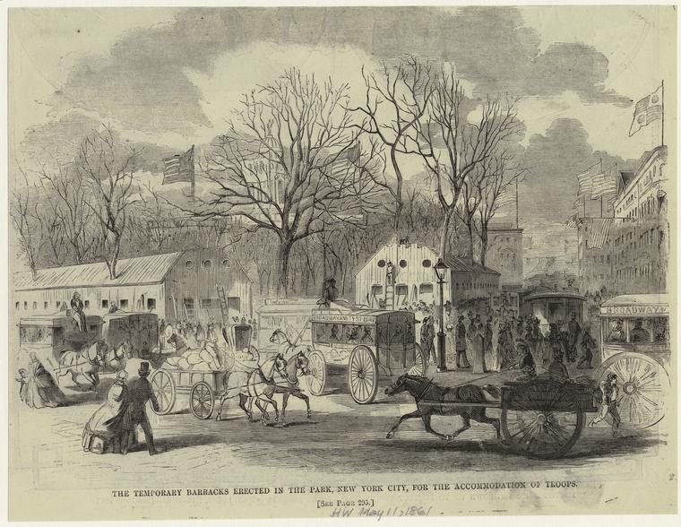 The temporary barracks erected in the park, New York City, for the accomodation of troops.