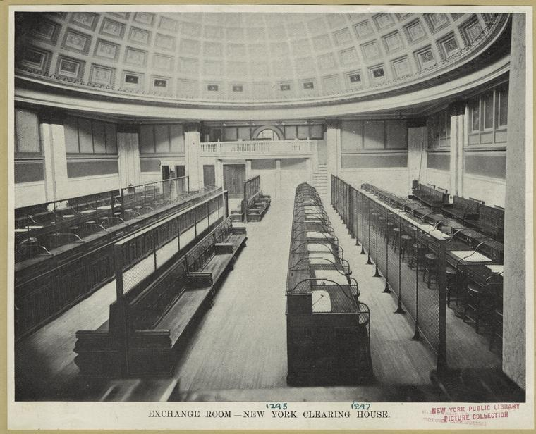 Exchange room -- New York Clearing House.