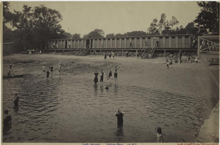 Bath Houses, Pelham Bay, ca. 1903.