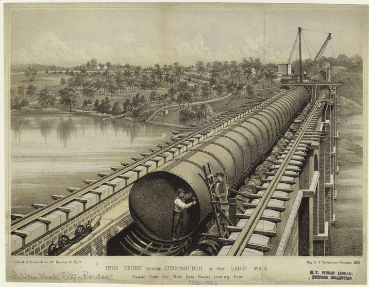 High Bridge during construction of the large main.