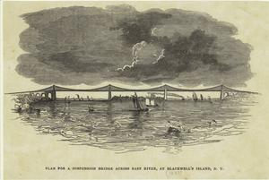 Plan for a suspension bridge across East River, at Blackwell's Island, N.Y.