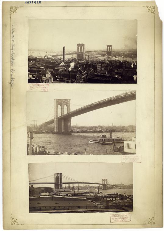 [Brooklyn Bridge -- three views.]