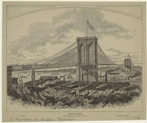 Suspension bridge between Brooklyn and New York City.