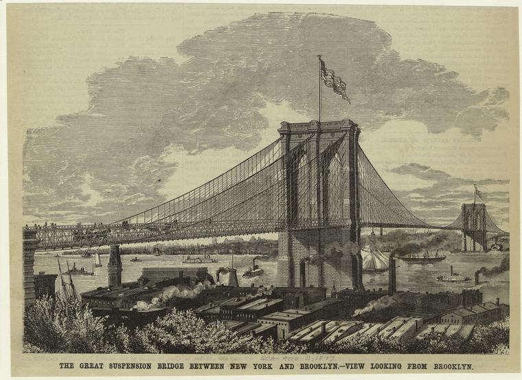 The great suspension bridge between New York and Brooklyn -- view looking from Brooklyn.