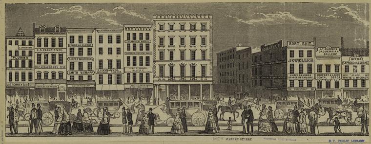 [Broadway and Warren Street, ca. 1854.]