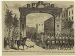 The triumphal arch erected in the eastern district of the city of Brooklyn on the occasion of the waterworks celebration