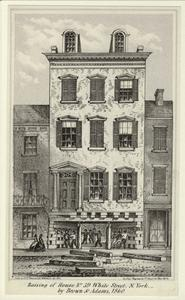 Raising of house no. 39 White Street, N. York, by Brown & Adams, 1860.