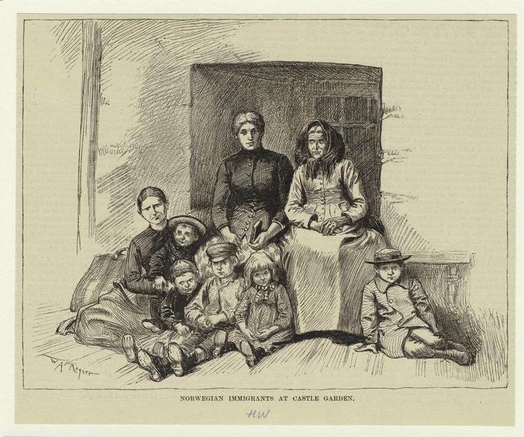 Norwegian immigrants at Castle Garden, 1888