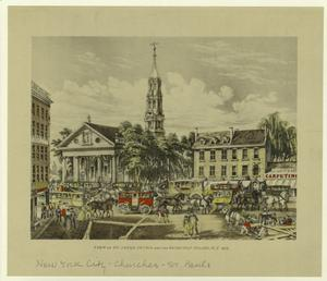 View of a St.Paul's Church and the Broadway stages, N.Y., 1831.