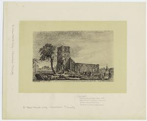 An original sketch of the ruins of Trinity Church N.York, taken by an English officer during the Revolution.