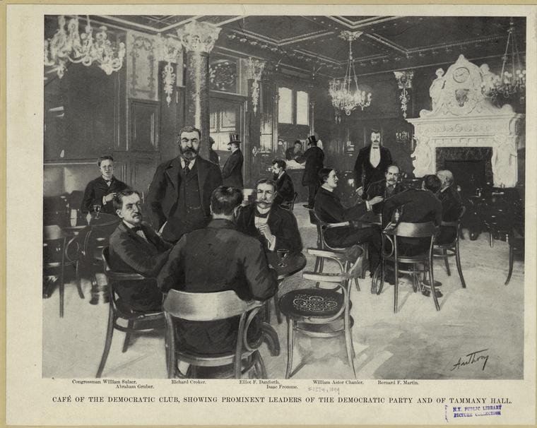 Café of the Democratic Club, showing prominent leaders of the Democratic party and of Tammany Hall.