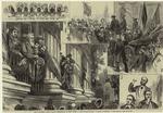 The Columbia boys--grand reception in New York--1. The college balcony, 2. Drawn in triumph, 3. The orators