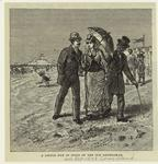 Man, woman, and older man on the beach, Coney Island, 1870s