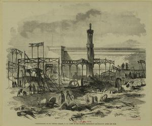 Conflagration of the Crystal Palace, N.Y. -- view of the machine department the morning after the fire.