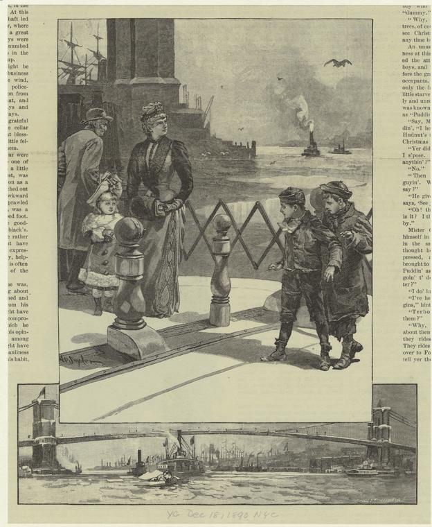 [Adults and children standing near the East River ; Couple floating in East River near Brooklyn Bridge.]