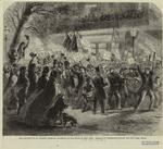 The election of Mr. Horatio Seymour, governor of the State of New York : Democratic procession passing the New York Hotel.