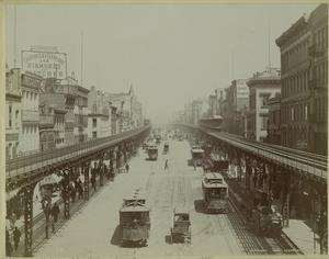 Elevated railroad, Bowery, N.Y.