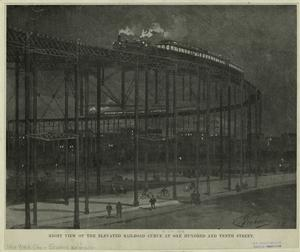 Night view of the elevated railroad curve at One hundred and tenth street.