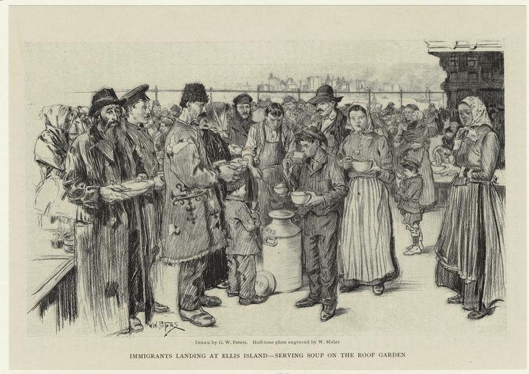 Immigrants landing at Ellis Island -- serving soup on the roof garden.