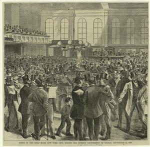 Scene in the Gold room, New York City, during the intense excitement of Friday, September 24, 1869.