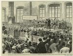 New York City--scene in the Produce Exchange, April 1st, at a mass-meeting of business men in support of Governor Tilden's crusade against canal frauds.