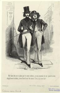 [Men walking arm in arm, France.]