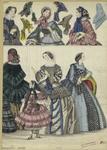 [Women, a girl, bonnets a