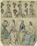 [Women modeling bonnets,
