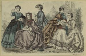 [Women by a fountain, 1860s.]