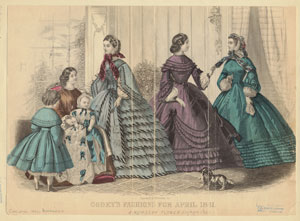 Godey's fashions for April 1861.  A nursery flower.