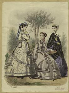 [Women in dresses outdoors, England, 1868.]