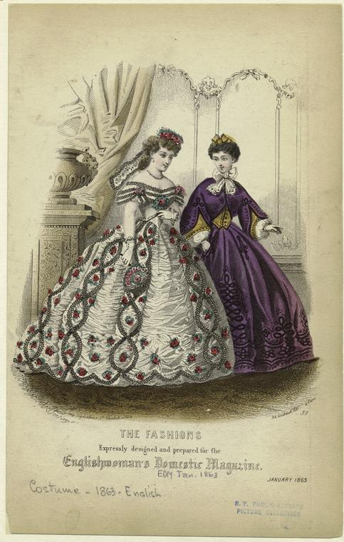 The fashions expressly designed and prepared for the Englishwoman's domestic magazine.