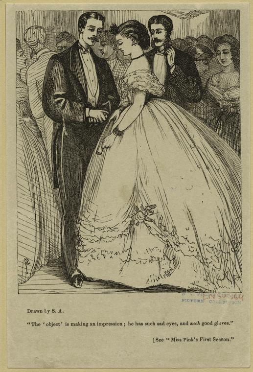 [Men in suits, and woman in ballgown, 1860s.]