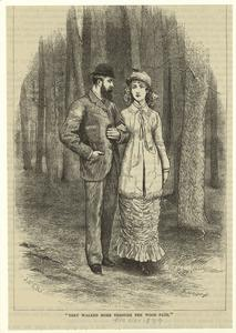 [Man and woman walking arm-in-arm through the woods, United States, 1870s.]