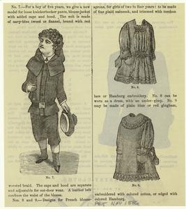 [Clothes for a boy of five years and two blouse aprons for girls of two to four years, United States, 1880s.]