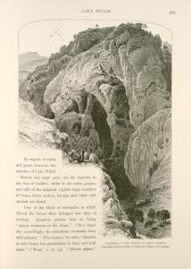 Caverns in the cliffs of Wâdy Leimôn.  The upper portion of Wâdy el Amûd, the Valley of the Column
