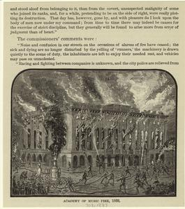 Academy of Music fire, 1866.