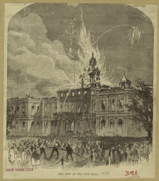 The fire at the City Hall.