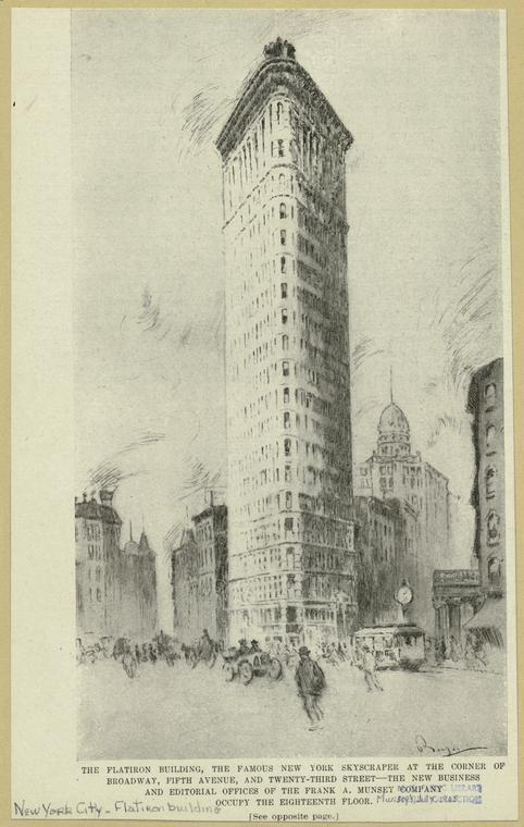 The Flatiron building, the famous New York skyscraper at the corner of Broadway, Fifth Avenue, and Twenty-third Street.