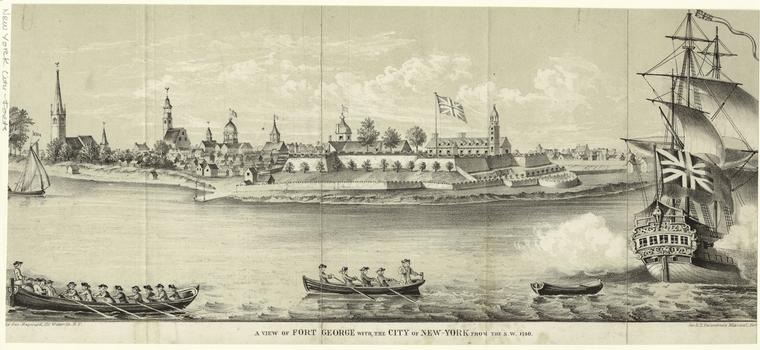 View of Fort Geoge with the city of New York from the S.W. 1740.