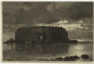 Fort Lafayette in New York Harbor, where political prisoners are confined.