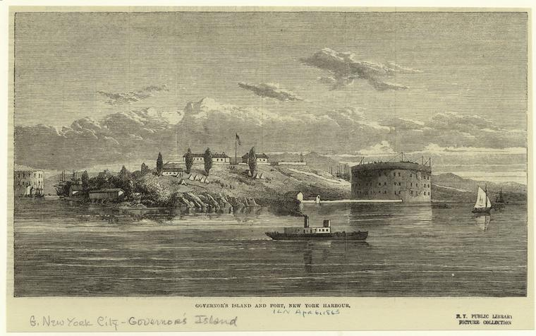 Governor's Island and Fort, 1865.