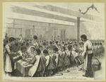 New York City--Thanksgiving dinner at the Colored Orphan Asylum, Boulevard and One hundred and forty-third Street