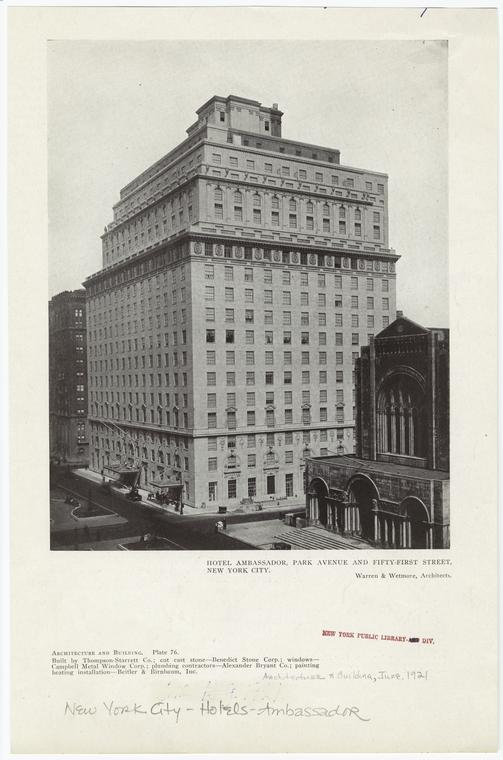 Hotel Ambassador, Park Avenue and Fifty-first Street, New York City.