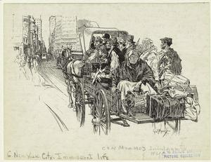 [Immigrants traveling in a horse driven cart.]