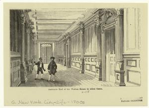 Entrance Hall of the Walton house in olden times.