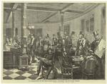 The reading-room of the Fifth Avenue Hotel, discussing the news from Chicago.