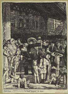 [Policeman and young boy arguing, surrounded by a crowd of onlookers, New York City, 1914.]